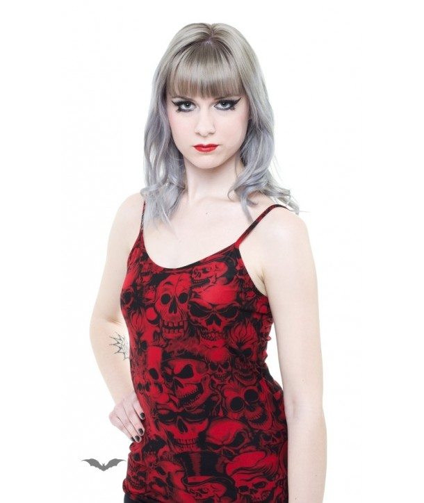 Top Queen Of Darkness Gothique Black Spaghetti Strapped Top With Black