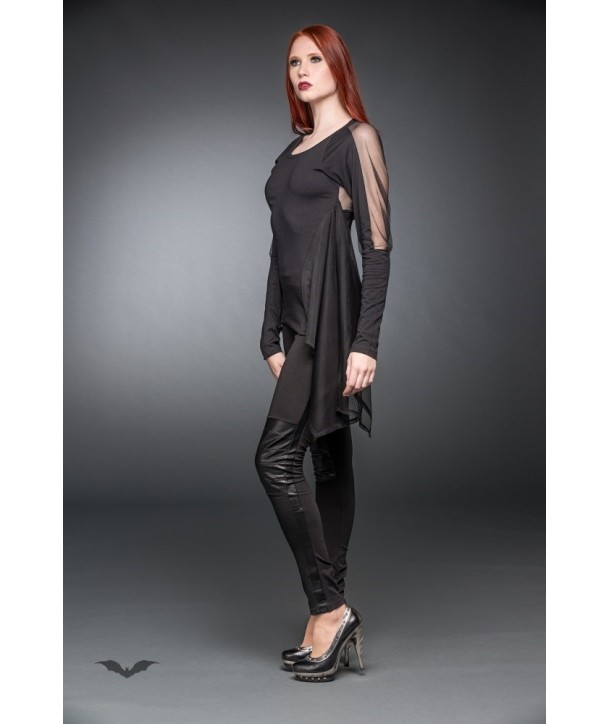 Top Queen Of Darkness Gothique Black Long Shirt With Cape