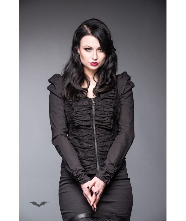 Top Queen Of Darkness Gothique Cardigan With Lace And Ruching