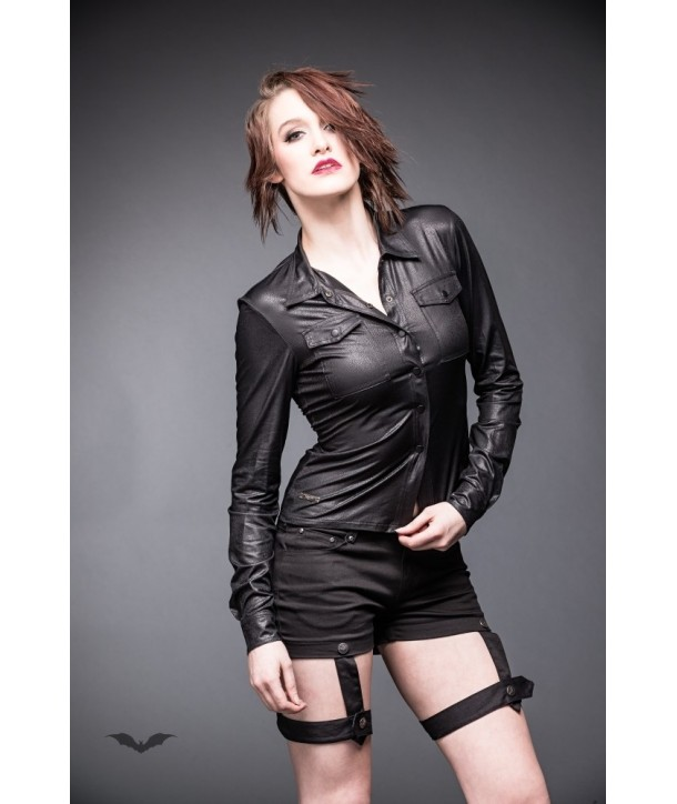 Top Queen Of Darkness Gothique Black Leather-Look Blouse