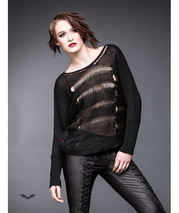 Pullover Queen Of Darkness Gothique Transparent Striped Jumper