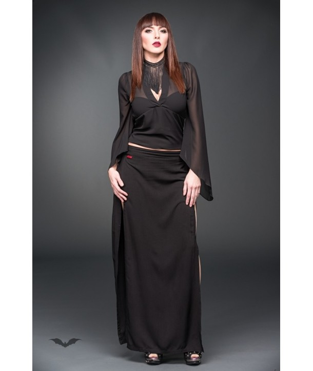 Top Queen Of Darkness Gothique See-Through Blouse With Bell-Shaped Slee