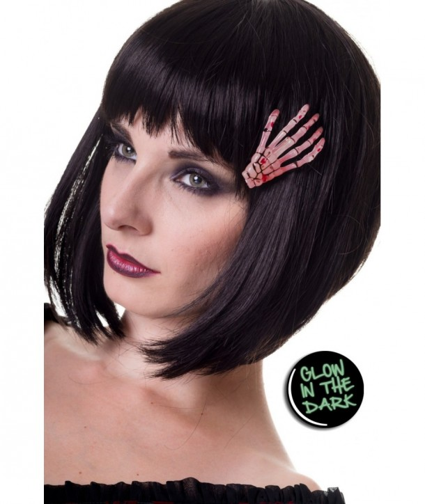 Barrettes Banned Clothing Skeleton Hand Hair Clip Glow In The Dark
