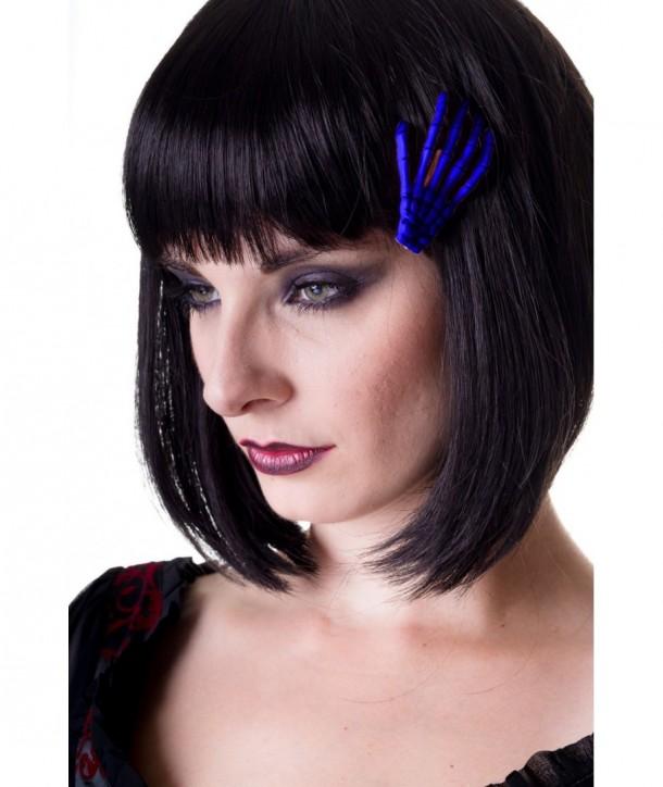 Barrettes Banned Clothing Skeleton Hand Hair Clip Royal Bleu
