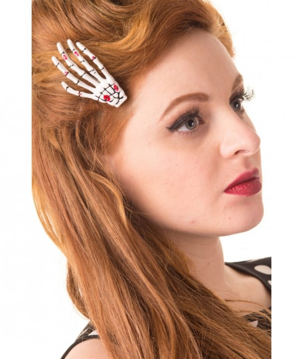 Barrettes Banned Clothing Skeleton Hand Hair Clip Blanc