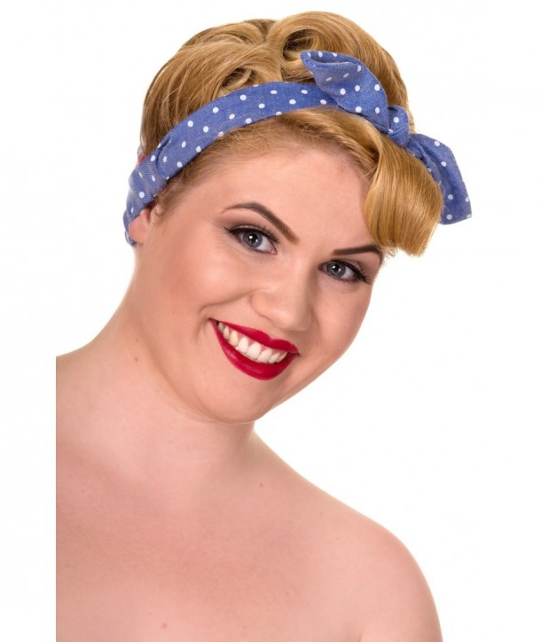 Headband Banned Clothing Retro Headband Denim Bleu/Blanc