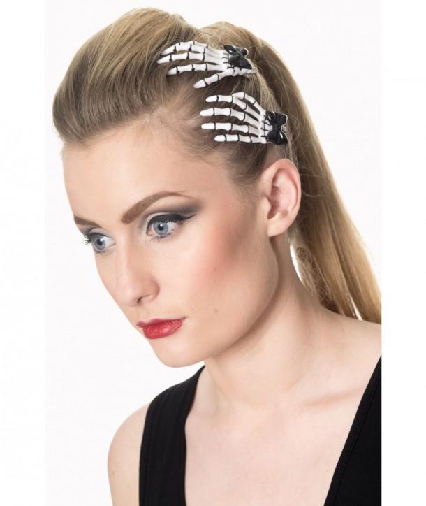 Barrettes Banned Clothing Cute Skeleton Hand Hair Clip Blanc/Noir