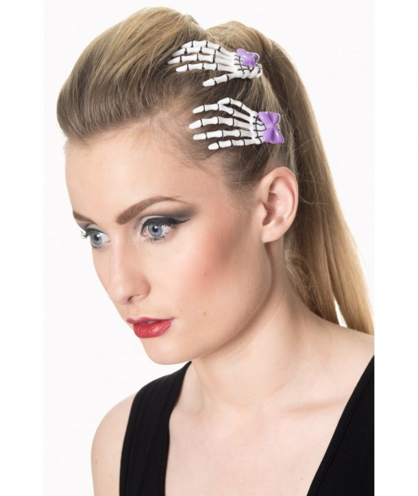 Barrettes Banned Clothing Cute Skeleton Hand Hair Clip Blanc/Violet