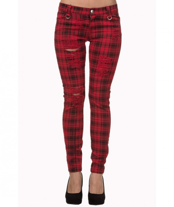 Pantalon Banned Clothing Move On Up Rouge Check