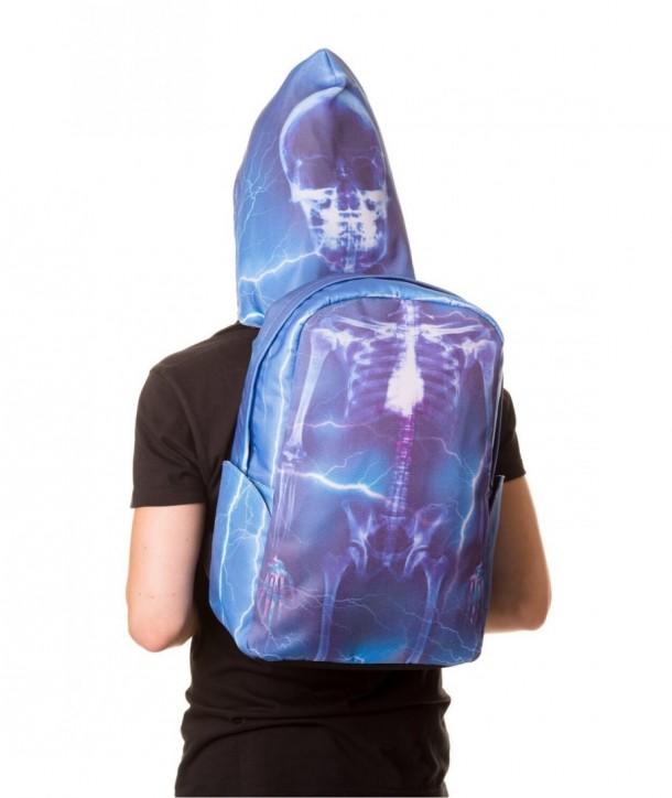 Sac Banned Clothing Bleu Skeleton Backpack With Hood Bleu