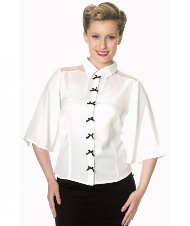 Top Banned Clothing Bows Delight Blouse Blanc