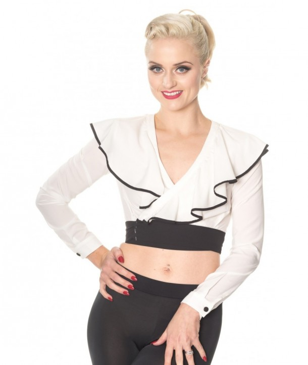 Top Banned Clothing Classy Dame Wrap Top Blanc/Noir