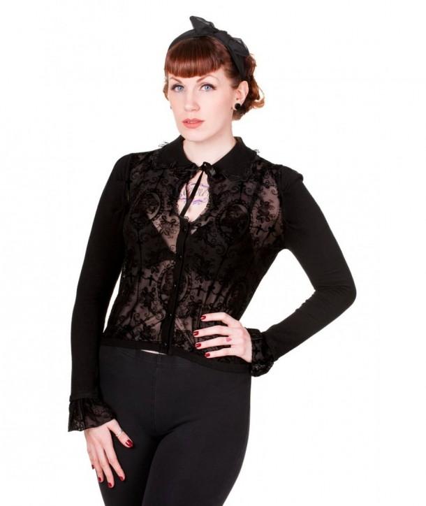 Cardigan Banned Clothing Black Flocked Cardigan Noir