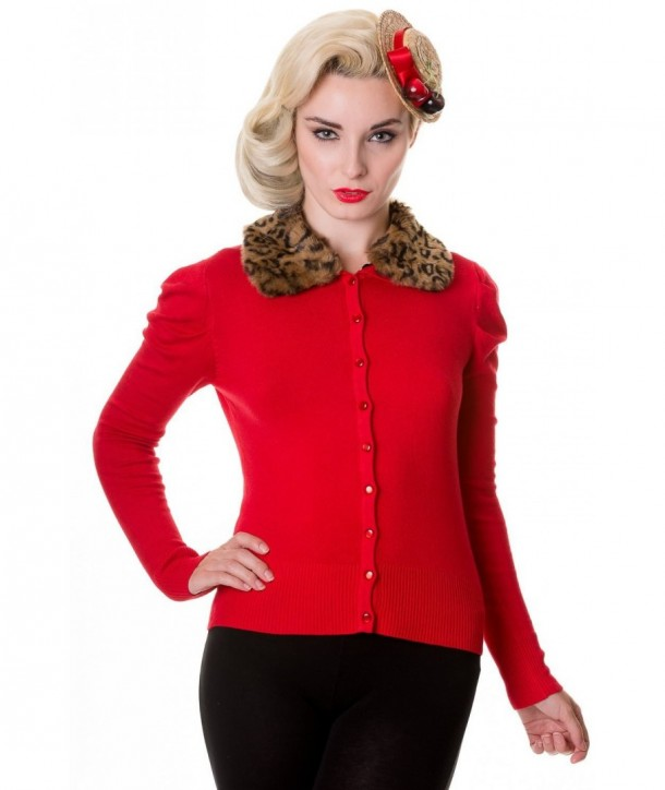 Cardigan Banned Clothing Fur Cardigan Rouge