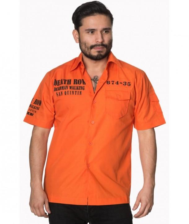 Chemise Banned Clothing Deathrow Shirt Orange