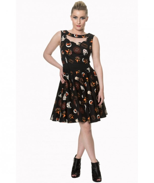 Robe Banned Clothing The Haunted Scallop Neck Dress Noir