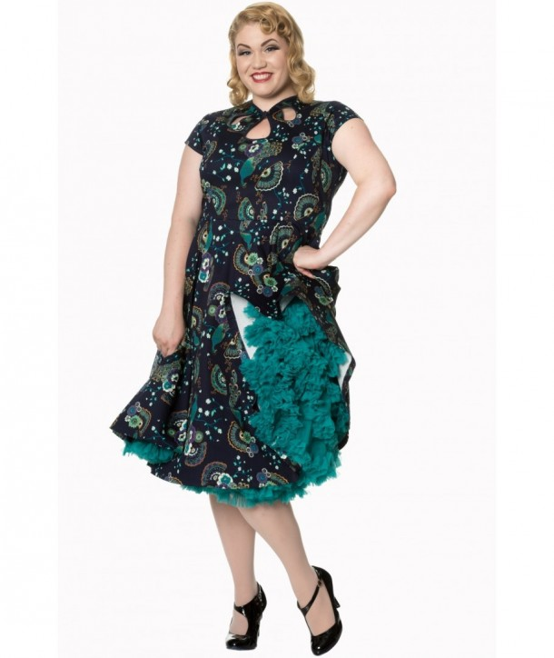 Robe Banned Clothing Proud Peacock Cut Out Dress Night/Bleu