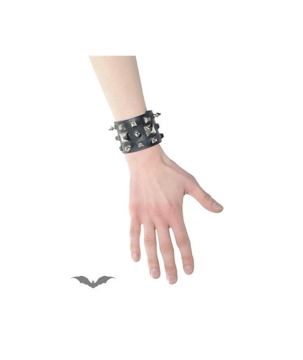 Bracelet Queen Of Darkness Gothique Wide Black Bracelet With Studs