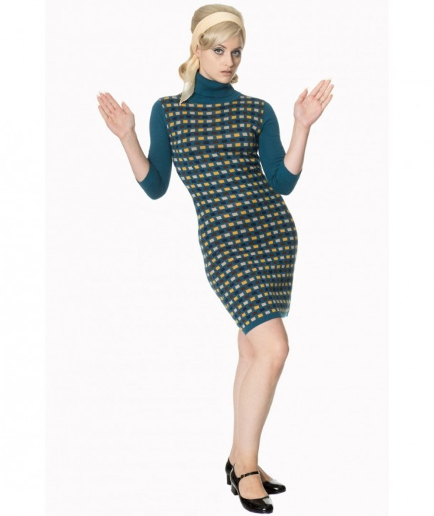 Robe Banned Clothing Prim Polo Neck Dress Teal