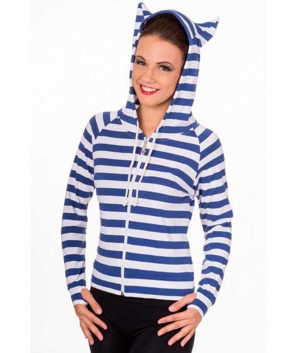 Sweatshirt Banned Clothing Cat Ears Striped Hoodie Bleu/Blanc