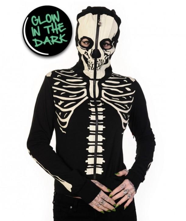 Sweatshirt Banned Clothing Glow In The Dark Skeleton Hand Hoodie Noir