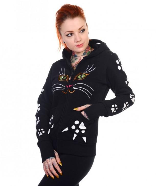 Sweatshirt Banned Clothing Cat Face Hoodie Noir