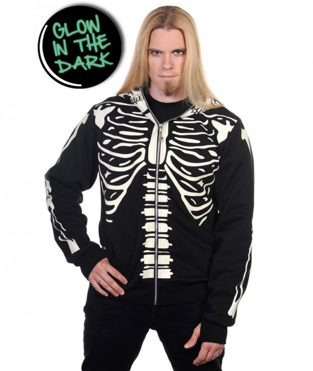 Sweatshirt Banned Clothing Noir Glow In The Dark Skeleton Men's Hoody Noir