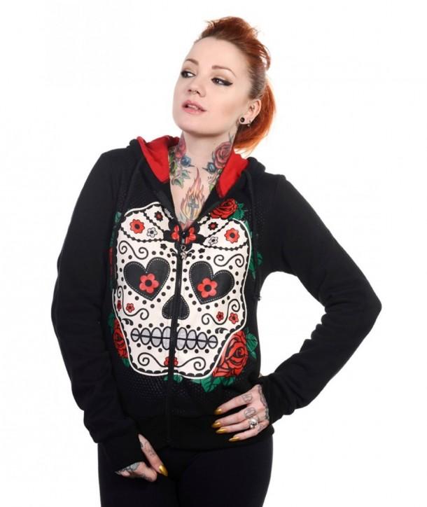 Sweatshirt Banned Clothing Sugar Skull Rouge Roses Hoodie Noir