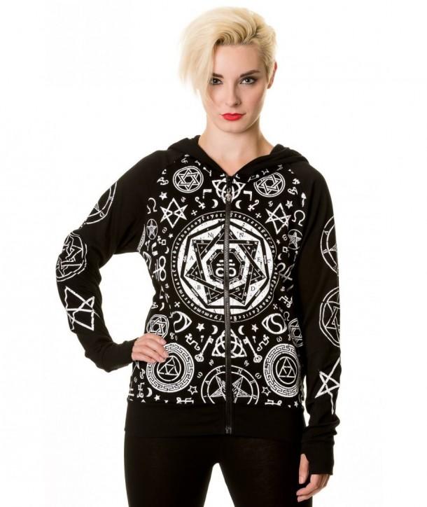 Sweatshirt Banned Clothing Noir Pentagram Hoodie Noir