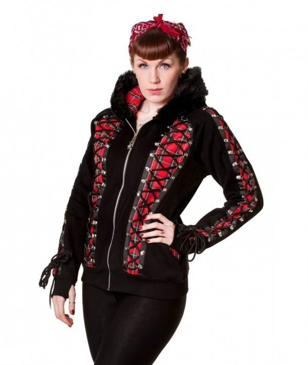 Veste Banned Clothing Rouge Tartan Corset Noir Hoodie Noir