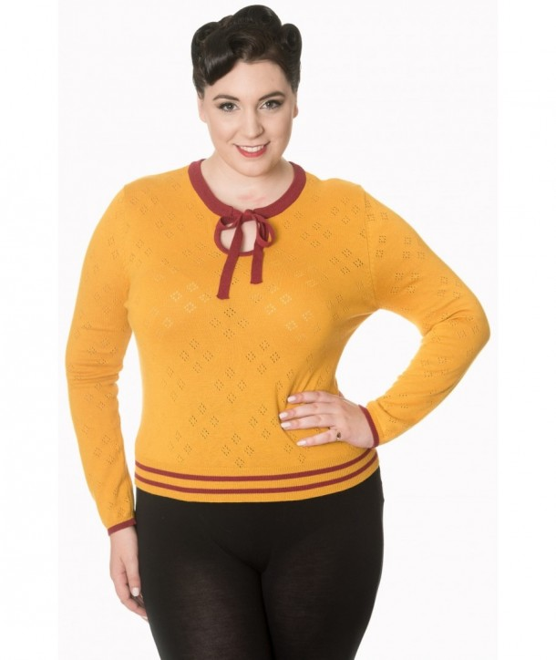 Pull Banned Clothing First Love Knit Top Mustard