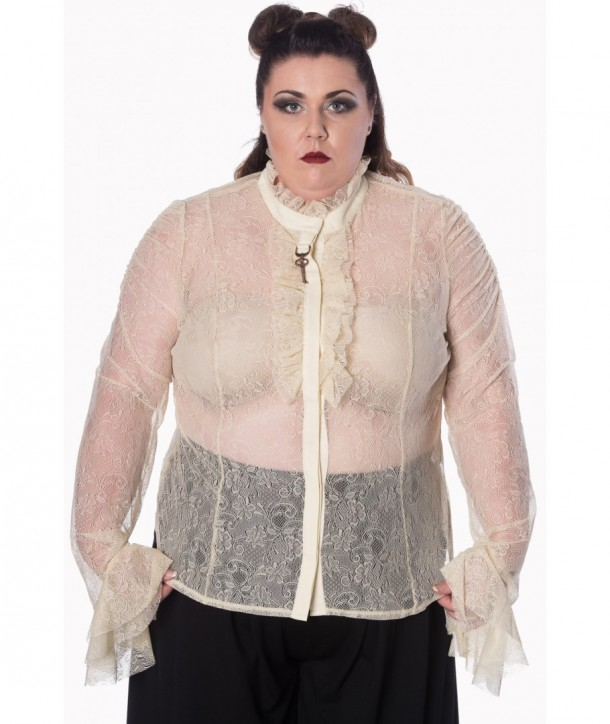Top Banned Clothing Gothic Key Lace Shirt Blanc
