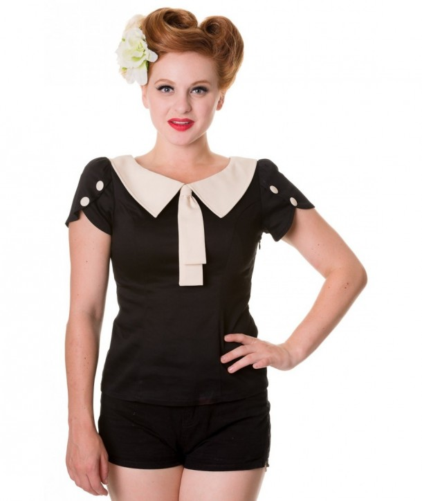 Top Banned Clothing Retro Style Top Noir/Blanc