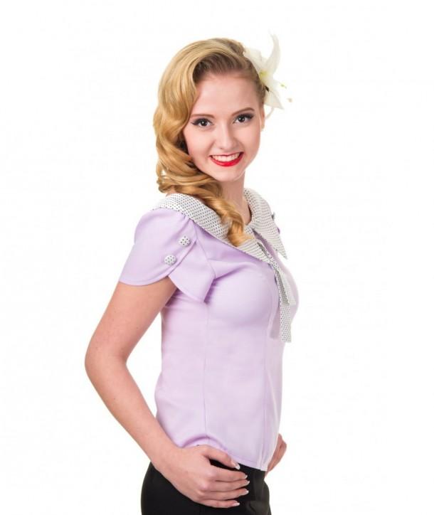 Top Banned Clothing Two Hearts Shirt Lavande/Polka Dots