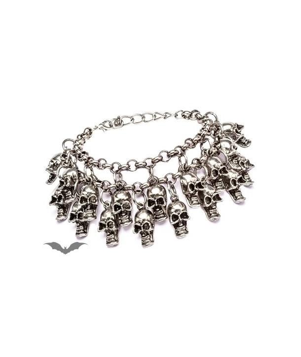 Bracelet Queen Of Darkness Gothique Silver Bracelet With Many Skulls