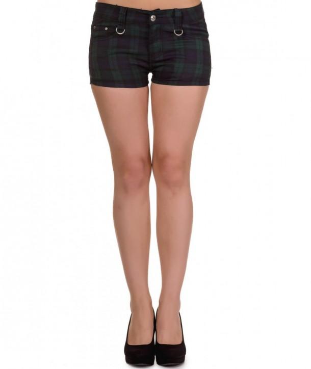Short Banned Clothing Tartan Shorts Vert Tartan