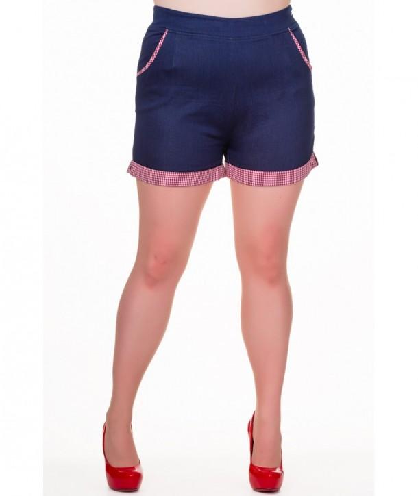 Short Banned Clothing Bleuberry Hills Shorts Denim/Gingham