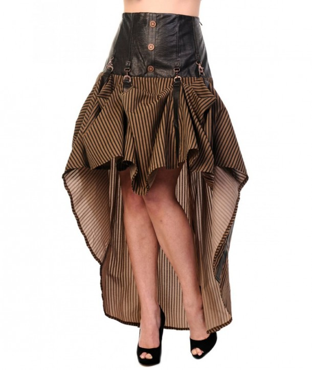 Jupe Banned Clothing Brown Stripe Steampunk