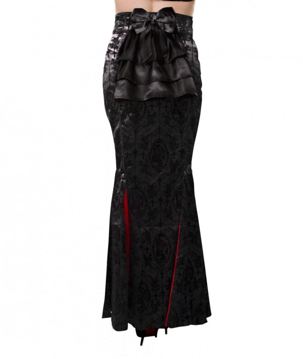 Jupe Banned Clothing Gothic Ivy Pattern Long Skirt Noir