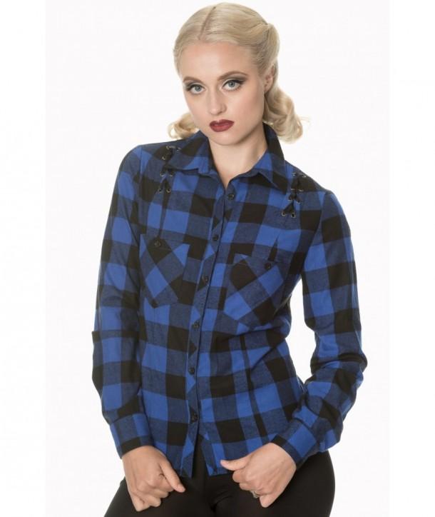 Top Banned Clothing Breaking Rules Check Shirt Bleu/Noir