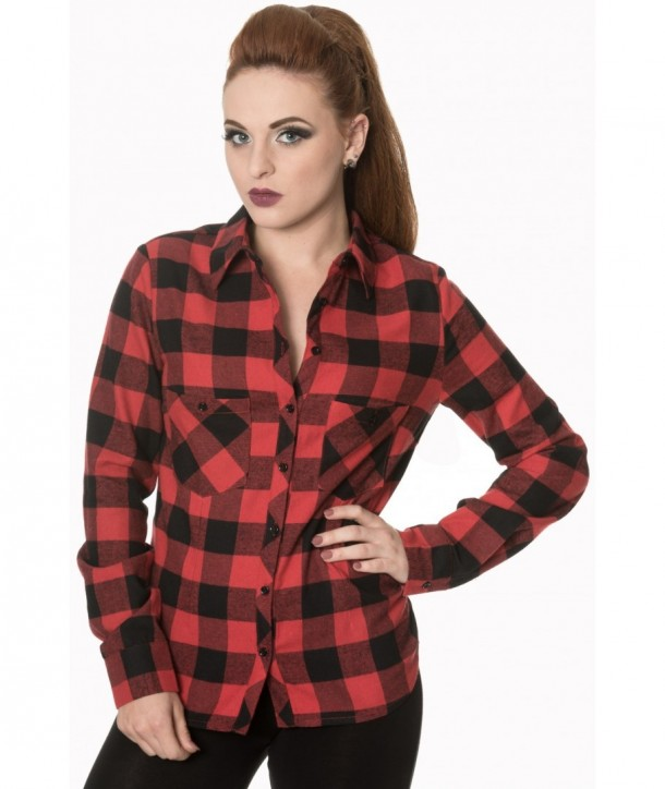 Top Banned Clothing No Boundries Shirt Rouge Check