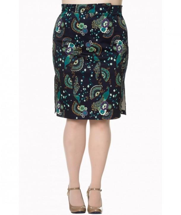 Jupe Banned Clothing Proud Peacock Pencil Skirt Night/Bleu