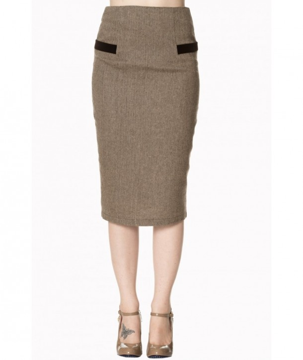 Jupe Banned Clothing Lady Luck Pencil Skirt Marron