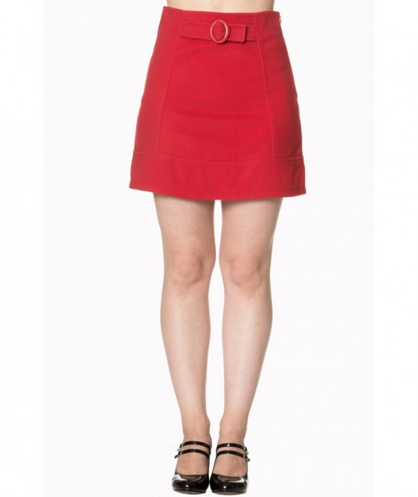 Jupe Banned Clothing Dare To Wear Buckle Detail Skirt Rouge