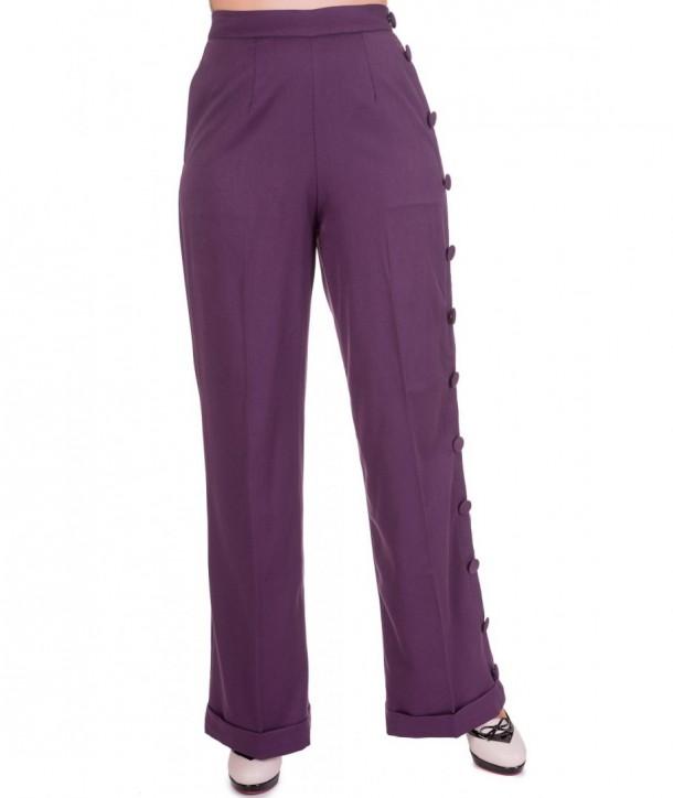 Pantalon Banned Clothing Shot In The Dark Pants Aubergine