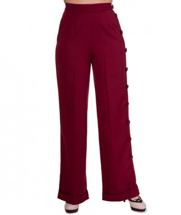 Pantalon Banned Clothing Shot In The Dark Pants Bordeaux