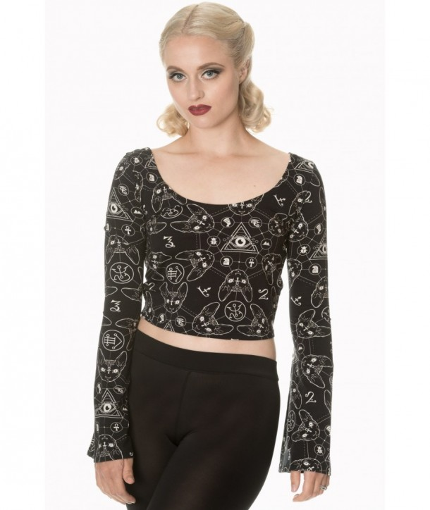 Top Banned Clothing 9 Lives Flare Sleeve Top Noir