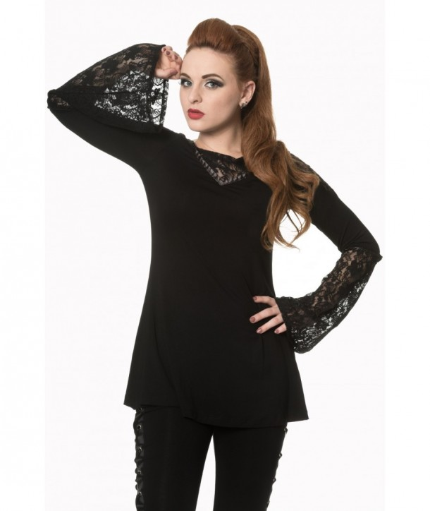Top Banned Clothing The Dark Hour Awaits Jersey Top Noir