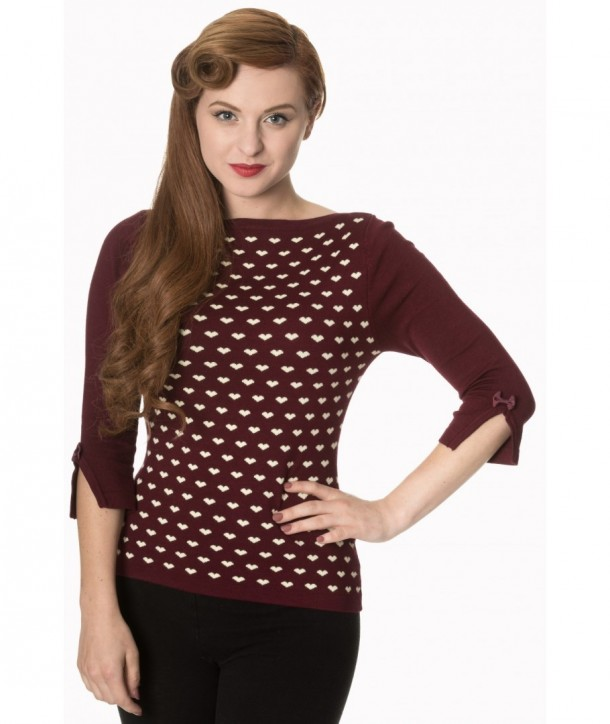 Top Banned Clothing Charming Heart Knit Top Bordeaux