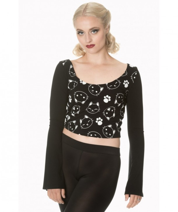 Top Banned Clothing Purrrrfect Kitty Flare Sleeve Top Noir